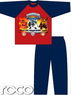 Boys Official Skylanders Giants Pyjamas Red and Blue Cotton Size 3 10