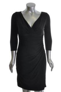 Elsie Black Matte Jersey Draped Little Black Dress Petites 8P
