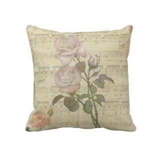Vintage Romantic pink rose and music score Pillows