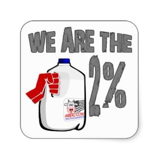 We Are The 2% Milk Funny Occupy Wall Street Spoof Square Stickers