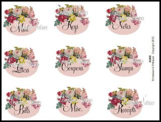 Shabby Floral Roses Kitchen Desk Organizer Label Decals KI308