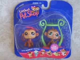 Littlest Pet Shop Monkey Twins 56 57 Retired New 2004