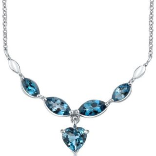 25 Ct Heart Shape London Blue Topaz Multi Gemstone Necklace in