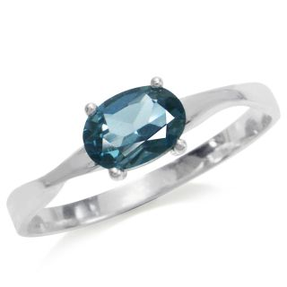 Natural London Blue Topaz 925 Sterling Silver Solitaire Ring Size Sz 5