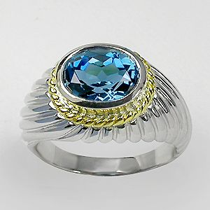 Natural London Blue Topaz AAA 925 Sterling Silver Ring