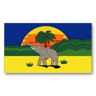 Elephant & Palm Tree Gift Tag Bookmark Business Cards