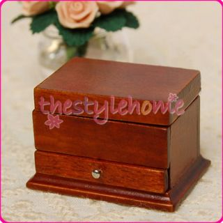 12 Dollhouse Miniature Brown Wood Jewelry Box