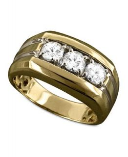 Mens 14k Gold Ring, Diamond Three Stone (1 ct. t.w.)