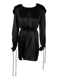Victoria Black Silk Gathered Long Sleeve Dress M $742 New