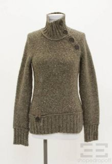 Lole Taupe Grey Wool Button Neck Sweater Size Medium