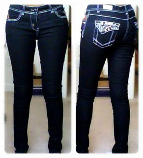 Sexy skinny jeans with white stitch and back pockets in rhinestone
