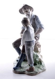 Lladro A Fishing Lesson Porcelain Figurine 6468