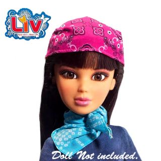 Blue Pink Head Scarf 2 Liv Doll Scarves Fit Monster High Bratz Moxie