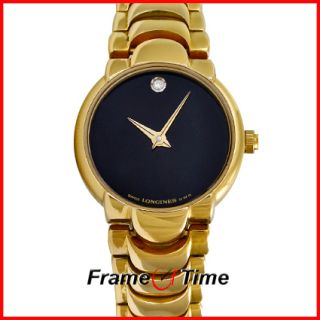 Longines Ladies Vintage Gold Black Diamond Dress Watch