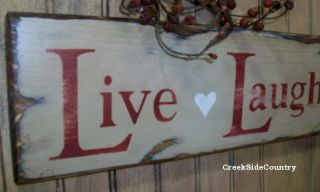 Primitive Valentines Wood Sign Live Laugh Love