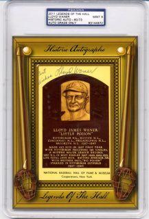 Lloyd Waner Legends of Hall Historic Auto PSA 9 Mint Gold HOF Plaque