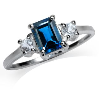 Natural London Blue&White Topaz Sterling Silver Engagement Ring Sz 8