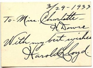 Harold Lloyd Vintage 1933 Original Signed Card Autographed with