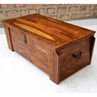 Large Solid Wood Storage Box Blanket Chest Trunk Coffee Table Wrought
