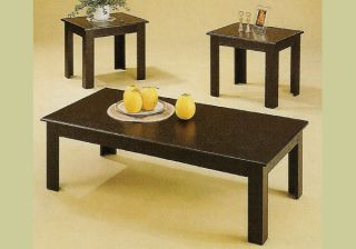 Piece Black Oak Coffee Table Set Wood End Tables New