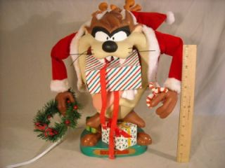 1996 Looney Tunes Christmas Taz Animated Figure w Box Tasmanian Devil
