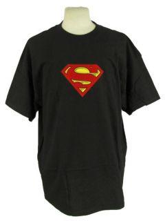 Superman s Logo Print T Shirt 100 Black Cotton Tee Mens Warner Bros