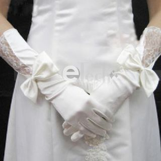 Beige Elegant Satin Bowknot Wedding Bridal Long Gloves