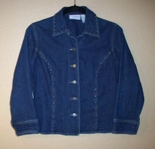 Liz Claiborne Studded Jean Jacket Shirt Misses S