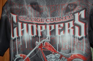 Choppers OCC Motocycle Red Gray Shirt Youth Boys Large 12 14