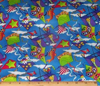 Bright Kites Blue Sky Timeless Treasures Fabric Yds