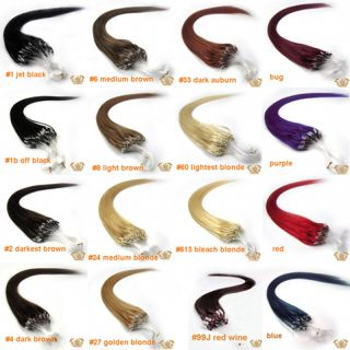 Popular Loop Micro Ring Tipped Remy Straight Human Hair Extensions 16