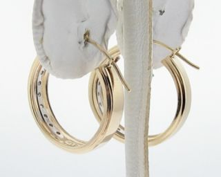 Genuine Diamonds Solid 14k Yellow Gold Hoop Loop Earrings
