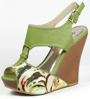 Olive Green Floral Peep Toe Ankle Strap Platform Wedge