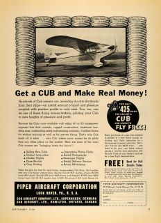 1938 Ad Piper Aircraft Lock Haven PA Cub Airplane Price   ORIGINAL