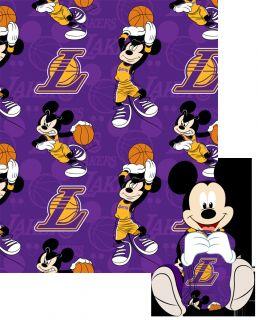 Disney NBA Los Angeles Lakers Mickey Mouse Pillow w Fleece Throw