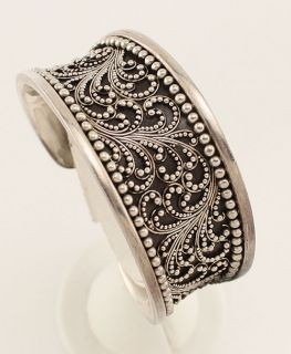 Lois Hill Sterling Silver Dot Scroll Design Cuff Bracelet