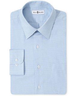Bill Blass Dress Shirt, Blue Check Long Sleeve   Mens Dress Shirts