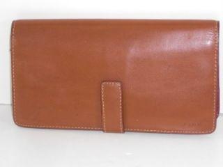 Lodis Tan Leather Audrey Compact Clutch Wallet Bag