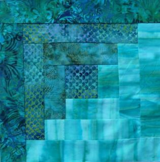 12 Block Batik Fabric Log Cabin Quilt Kit Bermuda Breeze 2 Pre Cut New