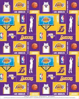 Los Angeles Lakers s NBA Basketball Print Fleece Fabric