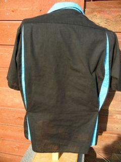 Vintage King Louie Bowling Shirt L Large Sweet Black Blue 1980s Ships