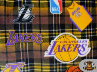 NBA Los Angeles Lakers Plaid Licensed Fleece Fabric Sold by The Yard