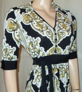 London Times New Black Gold Multi Dress Sz 14