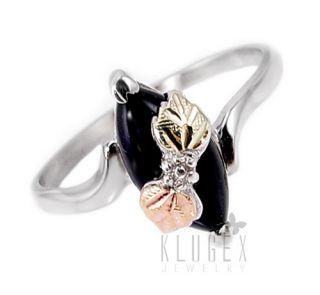 Black Hills Sterling 12K Gold Ring w Onyx Size 7