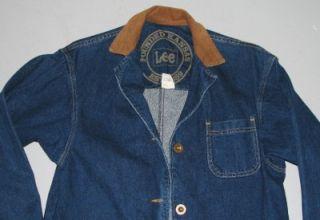 Lee Kansas jean Jacket Blue Denim Long Barn Chore Coat sz S Small Rare