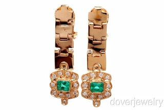 64ct Diamond Emerald 18K Gold Drop Long Clip Earrings 12.3 Grams NR