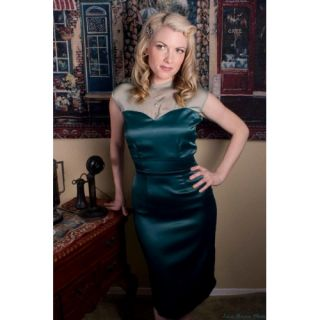 Holiday SATIN Peacock Aqua Sheer Sweetheart LOLA Pencil DRESS XS