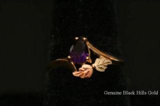 Genuine Black Hills Gold 10KT Amethyst Ring 12 KT Leaves Size 8 New 50