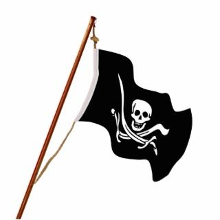 Crossed Swords Jolly Roger Pirate Flag on a Pole. Acrylic Cut Outs