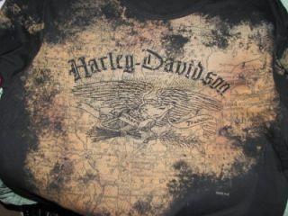 Harley Davidson Vintage Look Eagle Map 3 4 Slv Shirt Top XL Soffftttt